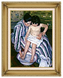 Mary Cassatt The Bath canvas with gallery gold wood frame