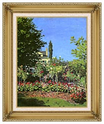 Claude Monet Garden In Bloom canvas with gallery gold wood frame