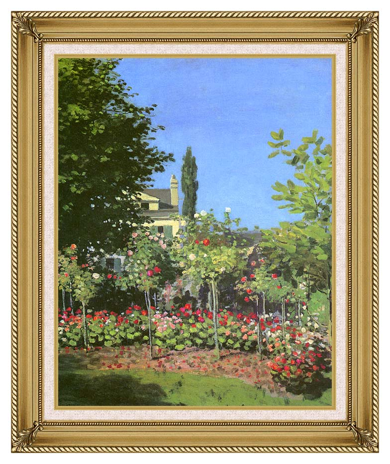 Claude Monet Garden in Bloom with Gallery Gold Frame w/Liner