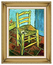 Vincent Van Gogh Vincents Chair With His Pipe canvas with gallery gold wood frame