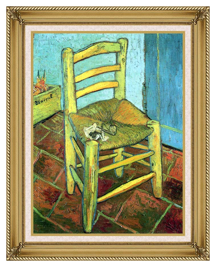 Vincent van Gogh Vincent's Chair with His Pipe with Gallery Gold Frame w/Liner