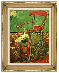 Vincent Van Gogh Paul Gauguins Armchair canvas with gallery gold wood frame