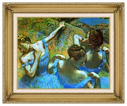Edgar Degas Blue Dancers Detail canvas with gallery gold wood frame