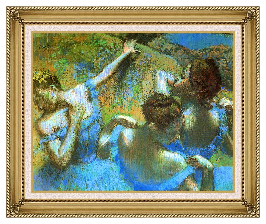 Edgar Degas Blue Dancers (detail) with Gallery Gold Frame w/Liner