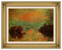 Claude Monet Sunset On The Seine At Lavacourt Winter Effect canvas with gallery gold wood frame