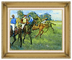 Edgar Degas Race Horses canvas with gallery gold wood frame