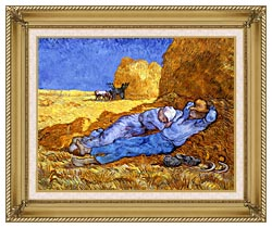 Vincent Van Gogh Noon Rest From Work canvas with gallery gold wood frame