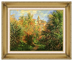 Claude Monet Gardens At Bordighera canvas with gallery gold wood frame