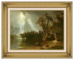 Albert Bierstadt Passing Storm Over The Sierra Nevadas canvas with gallery gold wood frame