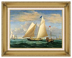 Fitz Hugh Lane The Yacht America Winning The International Race canvas with gallery gold wood frame