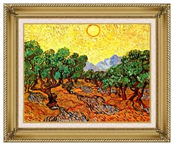 Vincent Van Gogh Olive Trees With Yellow Sky And Sun canvas with gallery gold wood frame