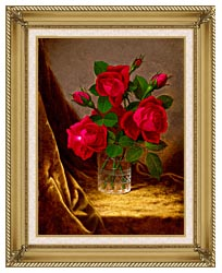 Martin Johnson Heade Jacqueminot Roses canvas with gallery gold wood frame