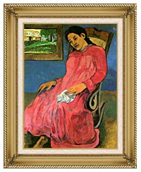 Paul Gauguin The Dreamer canvas with gallery gold wood frame
