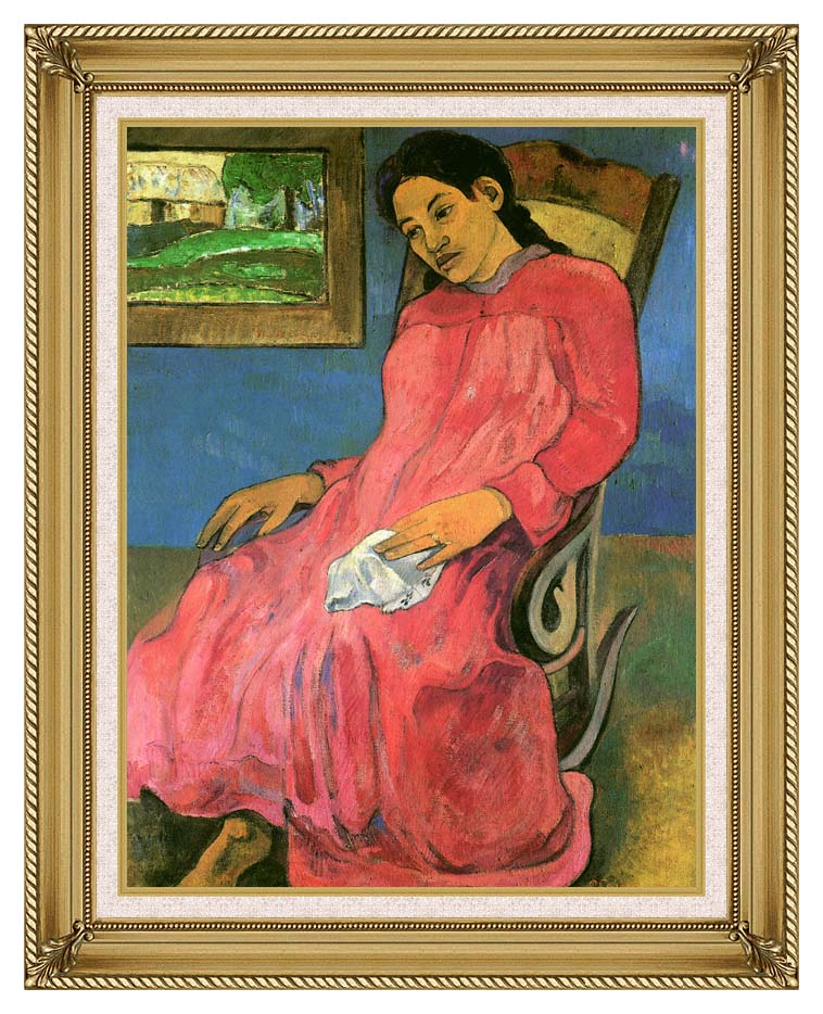 Paul Gauguin The Dreamer with Gallery Gold Frame w/Liner