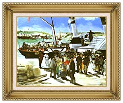 Edouard Manet The Departure Of The Folkestone Boat canvas with gallery gold wood frame