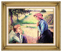 Camille Pissarro The Chat canvas with gallery gold wood frame