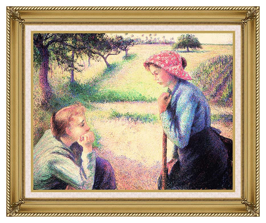 Camille Pissarro The Chat with Gallery Gold Frame w/Liner
