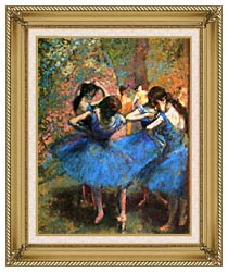 Edgar Degas Dancers In Blue canvas with gallery gold wood frame