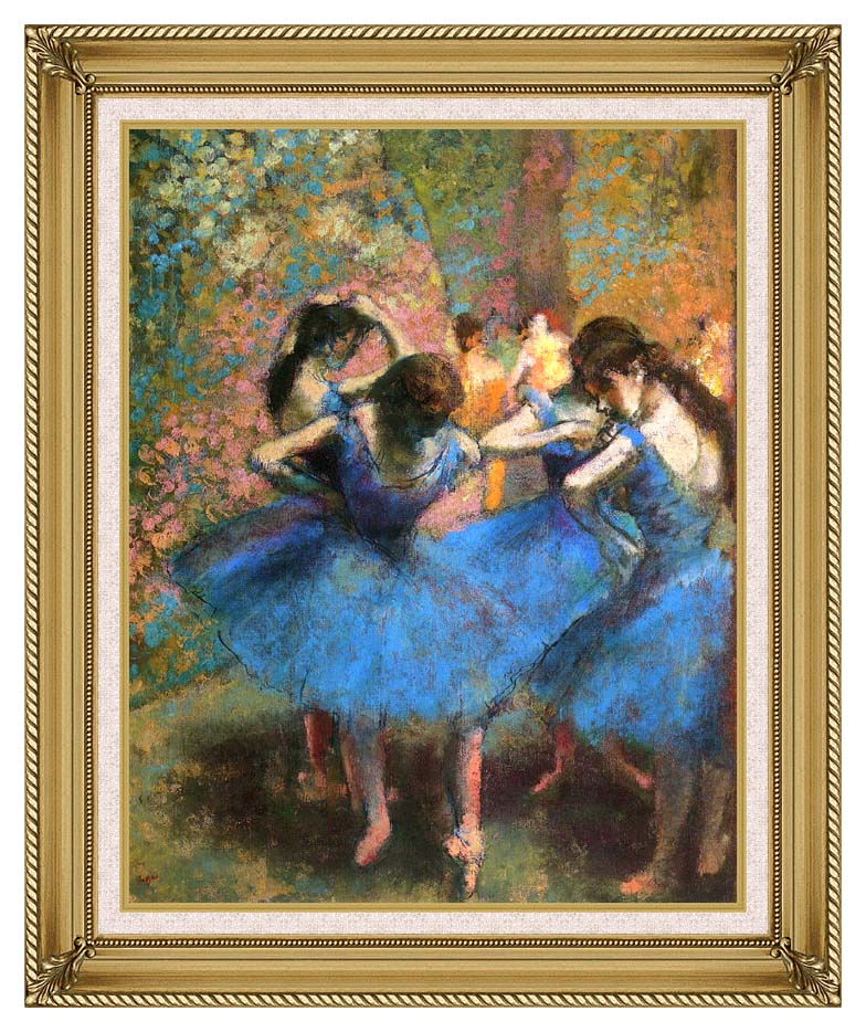 Edgar Degas Dancers in Blue with Gallery Gold Frame w/Liner