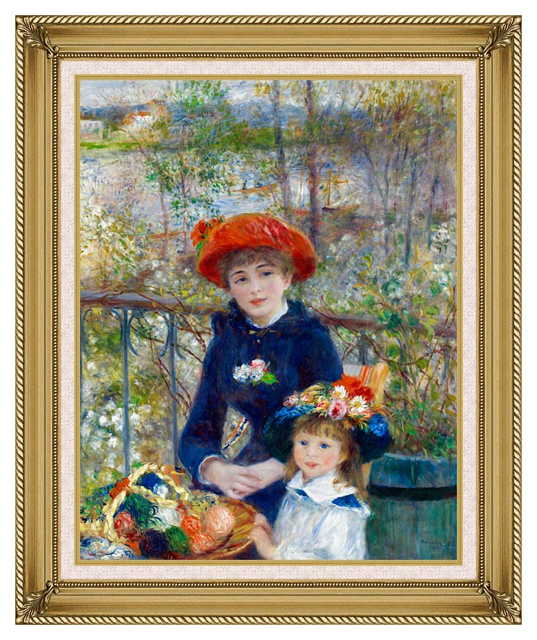 Pierre Auguste Renoir Two Sisters on the Terrace with Gallery Gold Frame w/Liner