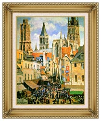 Camille Pissarro The Old Market Place In Rouen And The Rue De Lepicerie canvas with gallery gold wood frame
