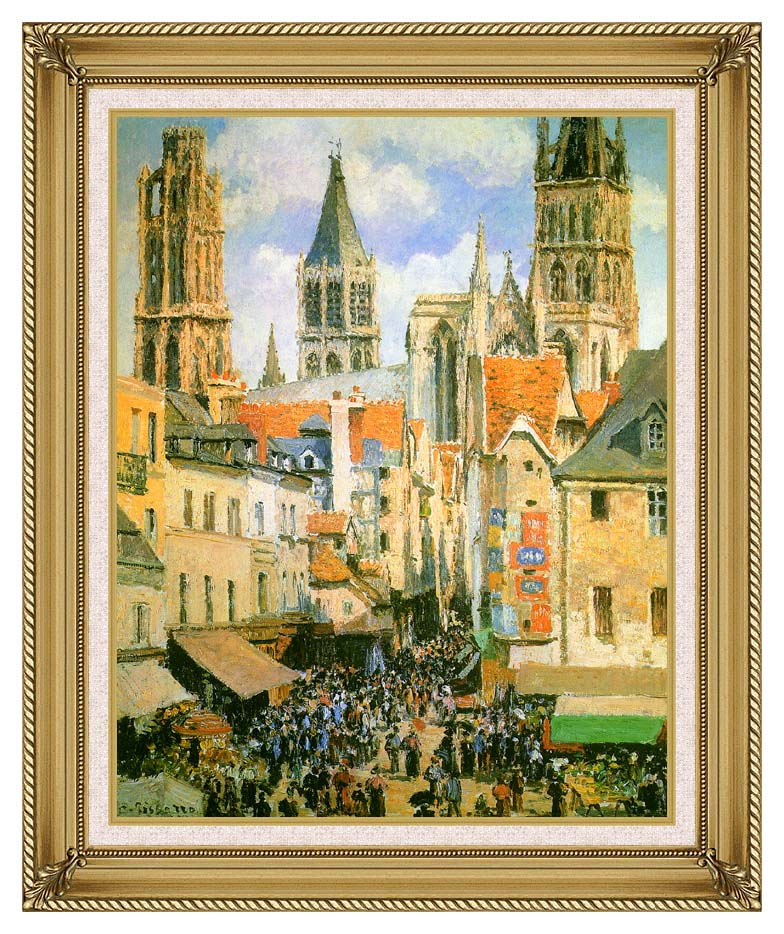 Camille Pissarro The Old Market-Place in Rouen and the Rue de l'Epicerie with Gallery Gold Frame w/Liner