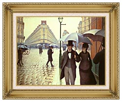 Gustave Caillebotte Paris A Rainy Day canvas with gallery gold wood frame