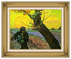 Vincent Van Gogh The Sower 1888 canvas with gallery gold wood frame