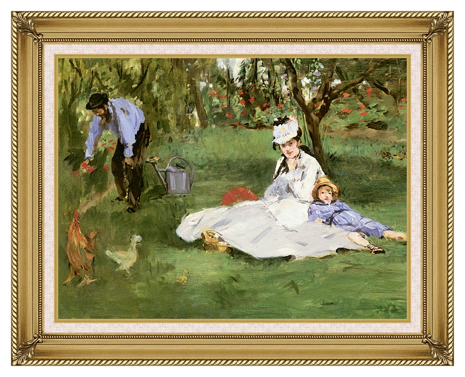 Edouard Manet The Monet Family in their Garden at Argenteuil with Gallery Gold Frame w/Liner