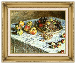 Claude Monet Still Life Apples And Grapes canvas with gallery gold wood frame
