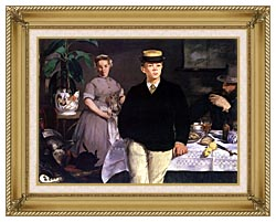 Edouard Manet Luncheon In The Studio canvas with gallery gold wood frame