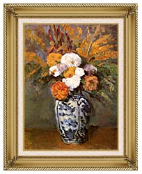 Paul Cezanne Dahlias In A Delft Vase canvas with gallery gold wood frame