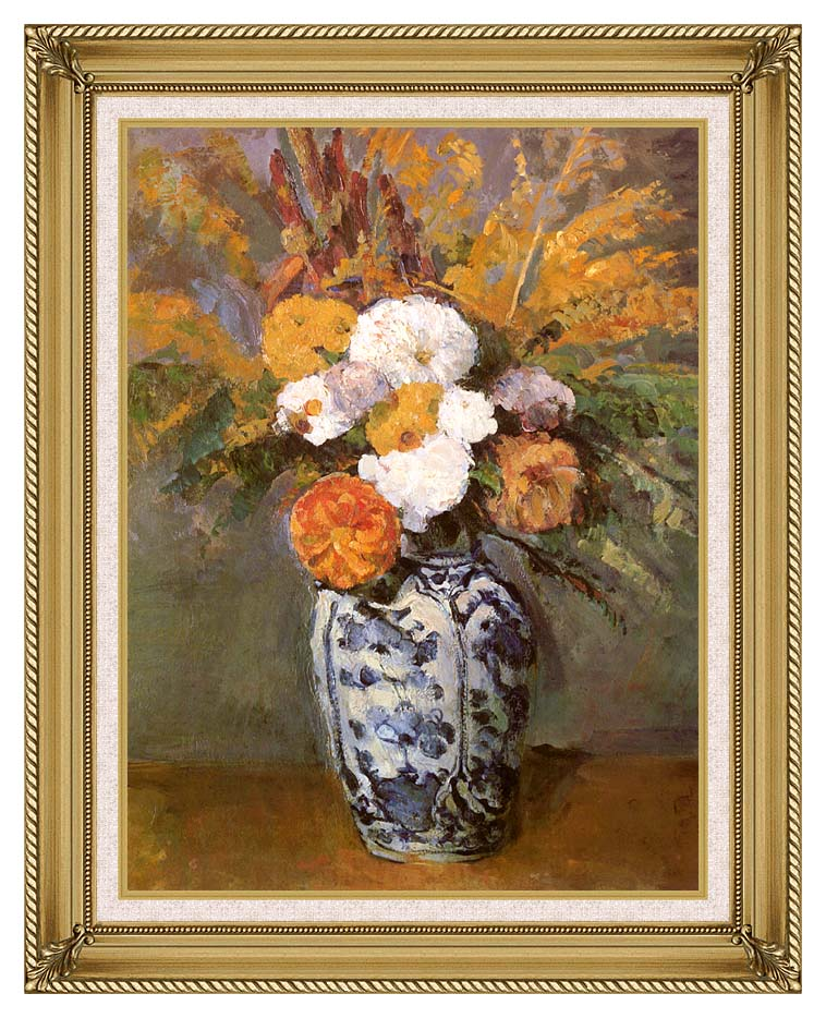 Paul Cezanne Dahlias in a Delft Vase with Gallery Gold Frame w/Liner