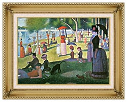 Georges Seurat Sunday Afternoon On The Island Of La Grande Jatte canvas with gallery gold wood frame