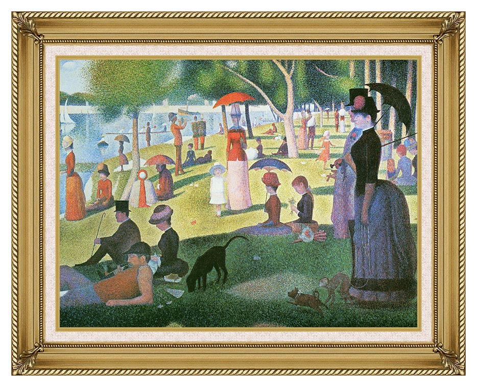 Georges Seurat Sunday Afternoon on the Island of La Grande Jatte with Gallery Gold Frame w/Liner