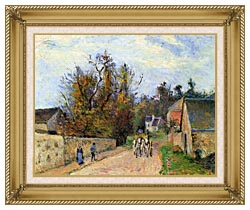 Camille Pissarro The Mailcoach   The Road From Ennery To The Hermitage canvas with gallery gold wood frame