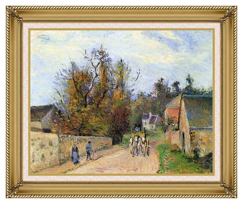 Camille Pissarro The Mailcoach - The Road from Ennery to the Hermitage with Gallery Gold Frame w/Liner