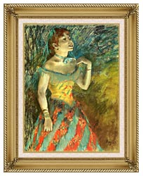 Edgar Degas The Singer In Green canvas with gallery gold wood frame