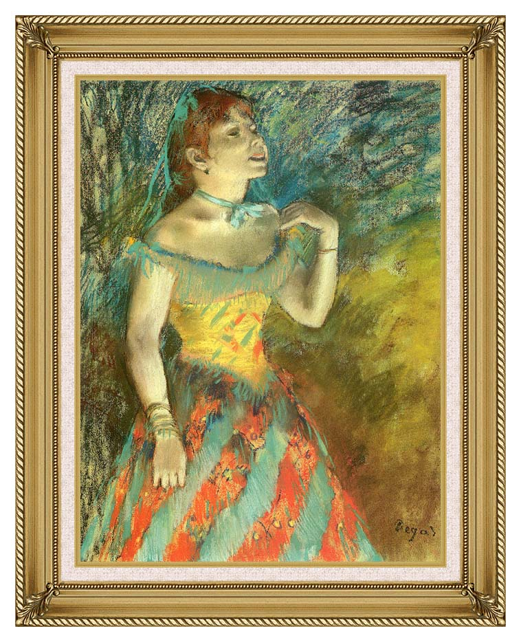 Edgar Degas The Singer in Green with Gallery Gold Frame w/Liner
