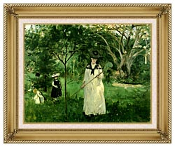 Berthe Morisot Chasing Butterflies canvas with gallery gold wood frame