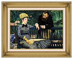 Edouard Manet In The Conservatory canvas with gallery gold wood frame