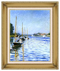 Gustave Caillebotte Boats On The Seine At Argenteuil canvas with gallery gold wood frame