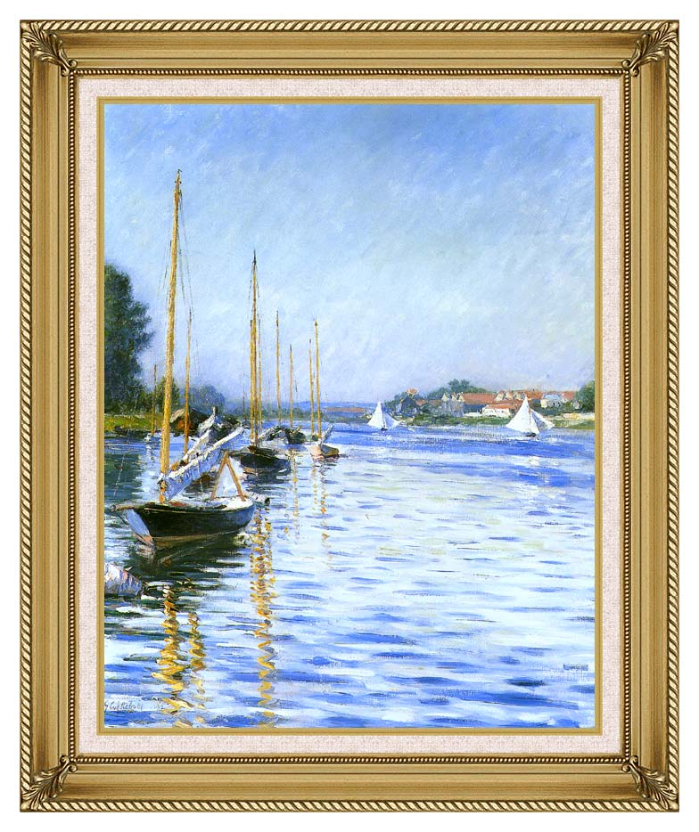 Gustave Caillebotte Boats on the Seine at Argenteuil with Gallery Gold Frame w/Liner