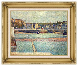 Georges Seurat Port En Bessin The Outer Harbor At Low Tide canvas with gallery gold wood frame