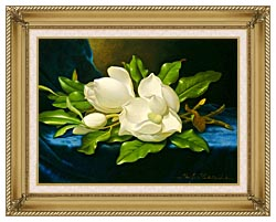 Martin Johnson Heade Magnolias On A Blue Velvet Cloth canvas with gallery gold wood frame