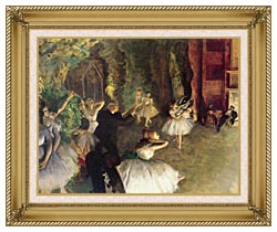 Edgar Degas Ballet Rehearsal On Stage canvas with gallery gold wood frame