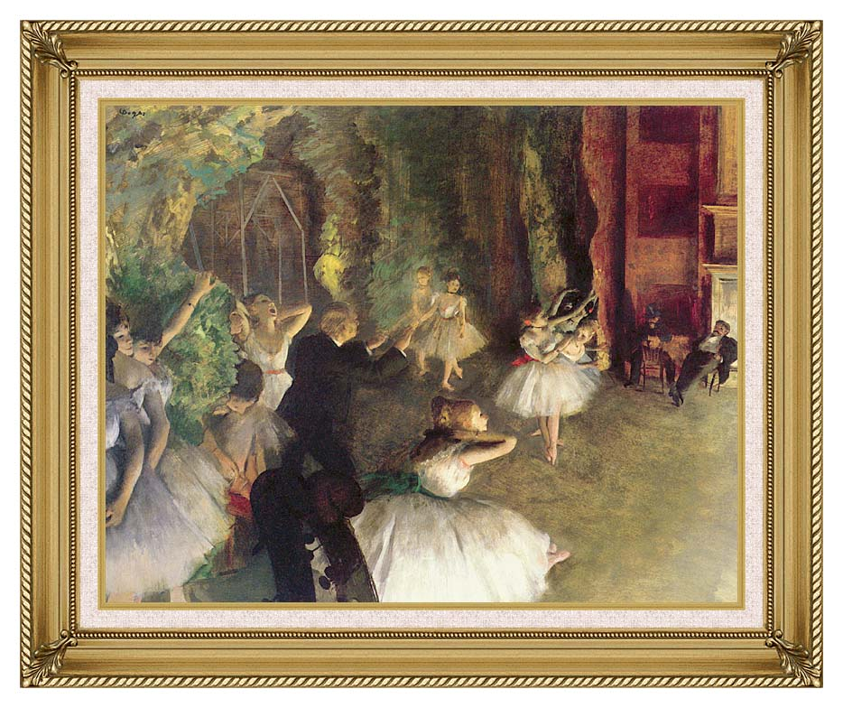 Edgar Degas Ballet Rehearsal on Stage with Gallery Gold Frame w/Liner