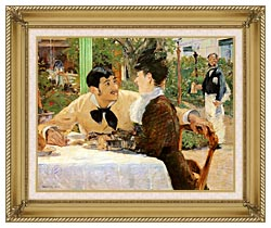 Edouard Manet In The Garden Restaurant Of Pere Lathuille canvas with gallery gold wood frame