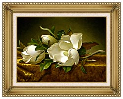 Martin Johnson Heade Magnolias On A Gold Velvet Cloth canvas with gallery gold wood frame