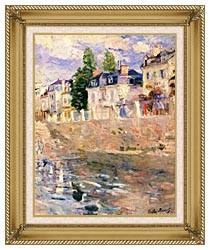 Berthe Morisot The Quay At Bougival canvas with gallery gold wood frame
